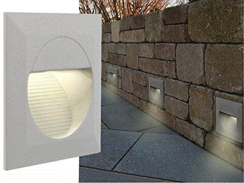 LED WAND EINBAU-LEUCHTEN, Treppen-Leuchte, Stufenbeleuchtung Mini J02 Aluminium pulverbeschichtet, 230V IP-65 warm-weiß [IHR VORTEIL: tolle LICHTQUALITÄT feinste VERARBEITUNG schneller EINBAU] [Unter- & Einbauleuchten] INNEN/AUSSEN