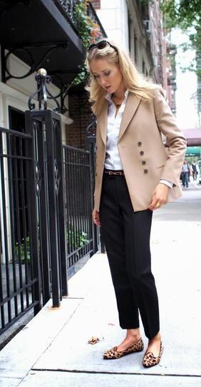 Camel blazer, white blouse, black ankle pants, patterned flats.