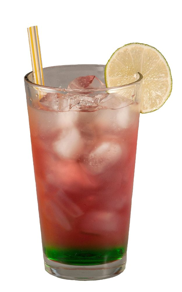 Killer Kool-Aid is a fun looking highball drink that combines vodka, melon liqueur, amaretto, and cranberry juice.