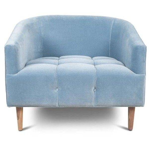 St. Barts Chair in Powder Blue Velvet (29,760 MXN) ❤ liked on Polyvore featuring home, furniture, chairs, light blue furniture, light blue chair, velvet chair, light blue velvet chair and velvet furniture