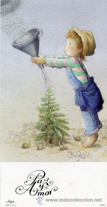 Detalle de la imagen de -Felicitación navidad FERRANDIZ (NIÑO REGANDO ARBOL DE NAVIDAD ...