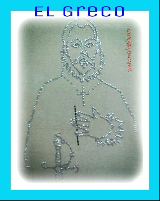 El #Greco.Silueta elaborada con chinchetas. #artística.#educación