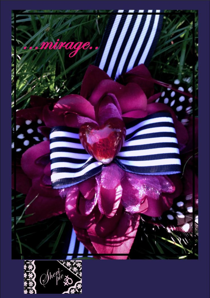 xo ♥  ...mirage.. ♥  xo   1 available.  Hairclip, broach-pin, and elastic band on the back.  $33 plus postage.  #SheriPiexoxo #corsage #accessories #gift
