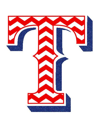 Texas Rangers Chevron T with royal blue glitter by GotSpiritTexas, $23.00