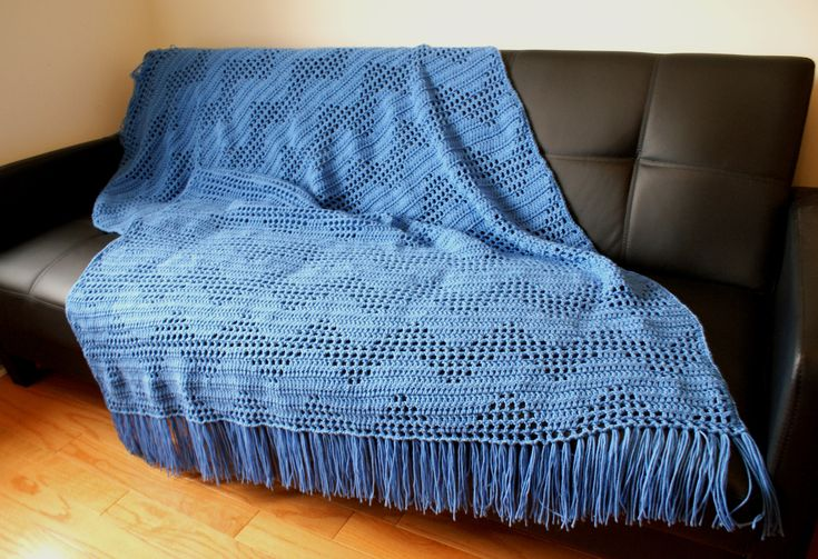 Blue Zig Zag Afghan, Handmade Throw, big crochet blanket, Bed Cover, Holiday gift, medium weight, Chevro,  Ready to Ship