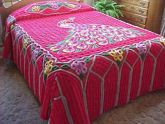 bright red Peacock chenille bedspread