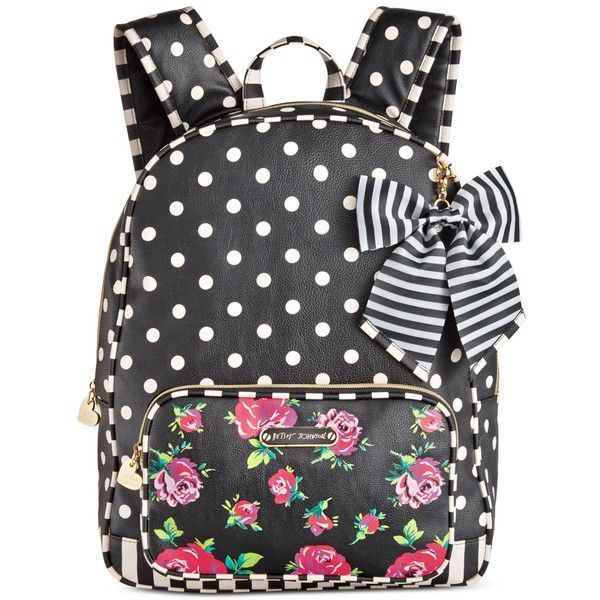 Betsey Johnson Large Backpack ($98) ❤ liked on Polyvore featuring bags, backpacks, floral dot, floral rucksack, dot backpack, day pack backpack, floral bag and polka dot backpack