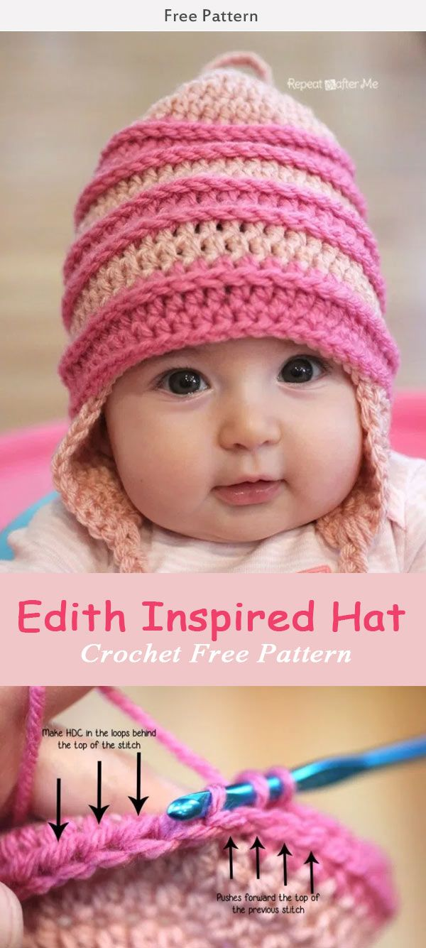 Crochet Edith Inspired Hat Crochet Free Pattern #babycrochet #freecrochetpatterns #hat