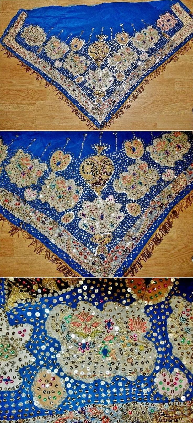 Woman's traditional festive 'arkalık' (waist cloth, generally worn on the backside), from Sille (near Konya), Turkish, ca. 1925.  Blue silk, adorned with silk embroideries and sequins (both metallic and mica).  Possibly an older piece of Rum (Anatolian Greek) origin.   Until 1922-24 the village was inhabited by Rum people; after they left the village (population exchange of 1922), the new Turkish inhabitants adopted some parts of the former traditional Greek costumes. (Source: Antika Osmanlı…