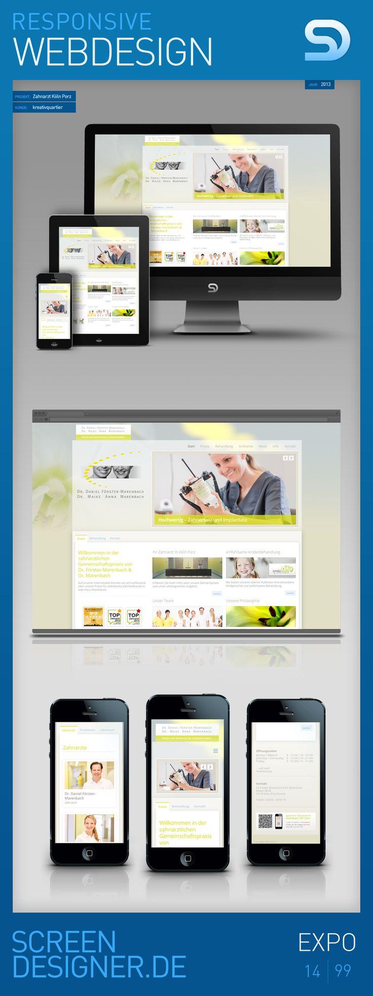 Responsive Webdesign für den Relaunch der Webseite eines Zahnarzt aus Köln Porz - by SCREENDESIGNER.DE - #responsive #design #webdesign