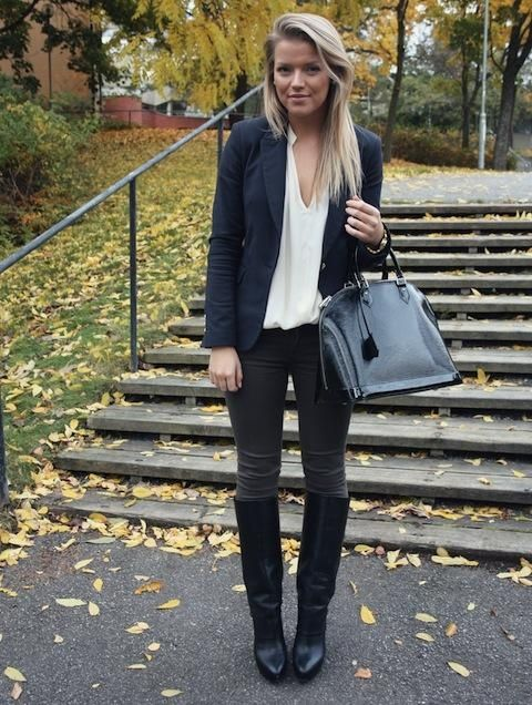 Cool Business Casual Outfit Fall Equestrian :: Blazer + Boots... Check more at http://24myshop.cf/fashion-style/business-casual-outfit-fall-equestrian-blazer-boots/