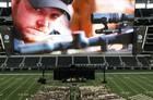 An image of Chris Kyle was displayed on the giant screen at Cowboys Stadium during his memorial service Monday.#ChrisKyle #NavySeal #sniper #Navy #Seal #patriot #hero