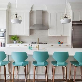 White KItchen with Modern Turquoise Counter Stools