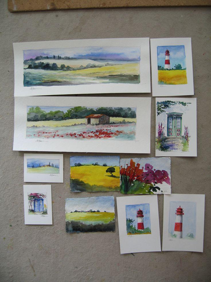 Kleine Aquarelle - so kann ich als Malerin schnell mal ein paar Landschaften und Motive festhalten, um sie später in Öl auf Leinwand zu malen - hier geht es zu meinen Ölbildern: www.ute-herrmann-kunstmalerin.de #aquarell #landscapeart