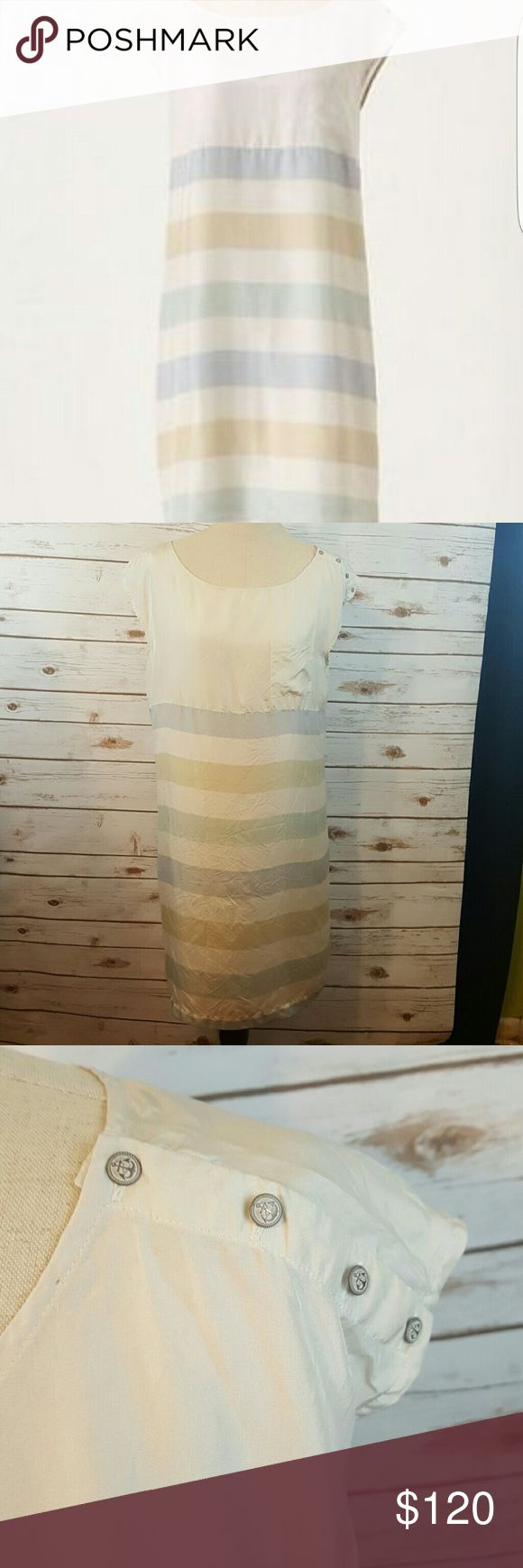 "🚨FLASH SALE Odille Shore House shift dress 100 % silk shift dress with pastel stripes and buttons along left shoulder. Slip not included.  Bust 40"" Length 36.5"" Anthropologie Dresses Midi"