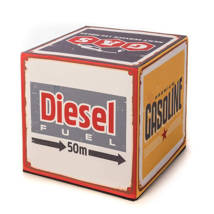 """CUBUS CULTUS """"Diesel"""" Vintage Retro Hocker/Beistelltisch im Tankstellen Look!"""