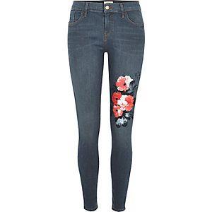 Amelie blauwe superskinny jeans met bloemenprint