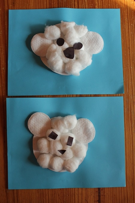 Polar Bear Craft with Cotton Balls & Cotton Rounds