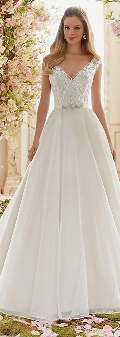 Graceful Tulle V-neck Neckline A-line Wedding Dresses With Lace Appliques