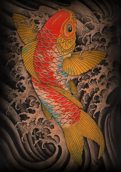 Koi by Clark North Japanese Gold Fish Tattoo Artwork Canvas Art Print