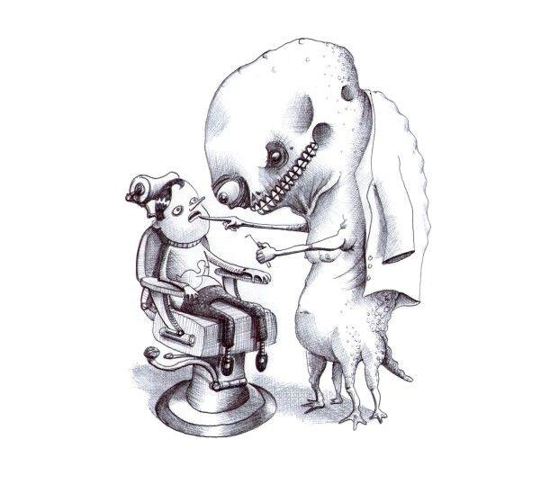 'The Dentist'. Illustration by Chris Harrendence