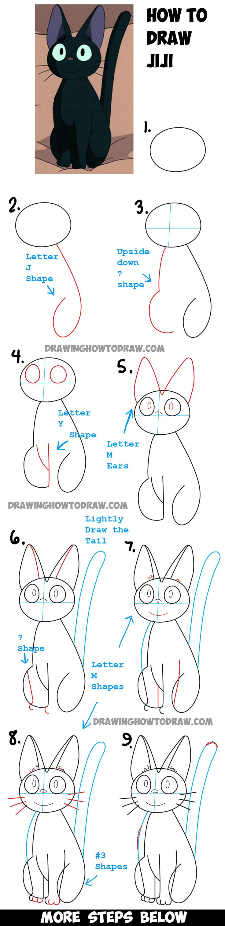 Learn How To Draw Jiji From Kiki's Delivery Service  Simple Steps Drawing  Lesson