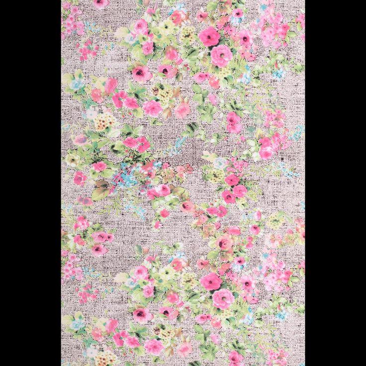 grijs gemeleerd stretch tricot met roze en groene bloemen bedrukt