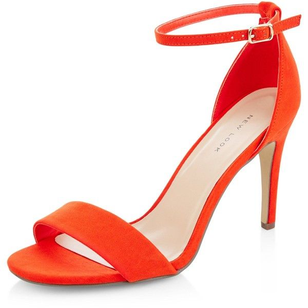 "New Look  Bright Orange Suedette Ankle Strap Heeled Sandals, - Soft suedette finish- Square toe- Ankle strap fastening- Heel height: 3.5""/9cm"