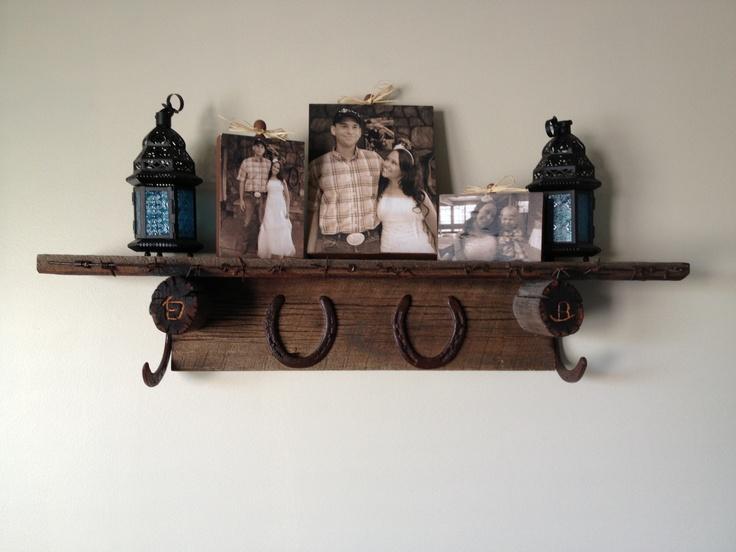 Barn Wood Horseshoes And Barbed Wire Shelf Home