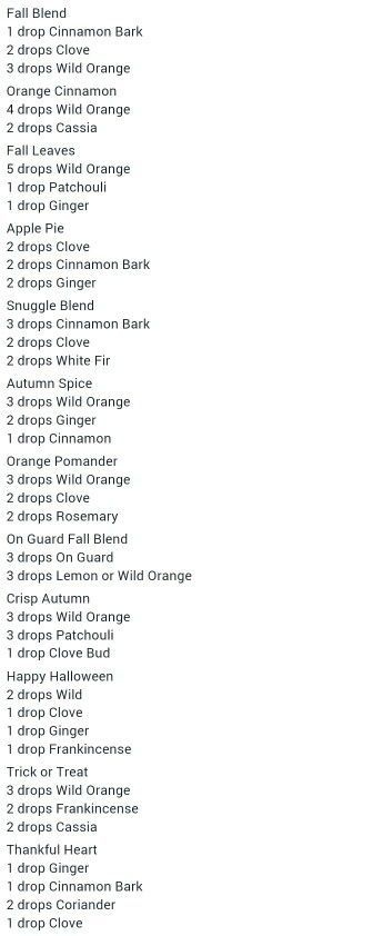 So many great smelling (and therapeutic) Fall Diffuser Blends!!