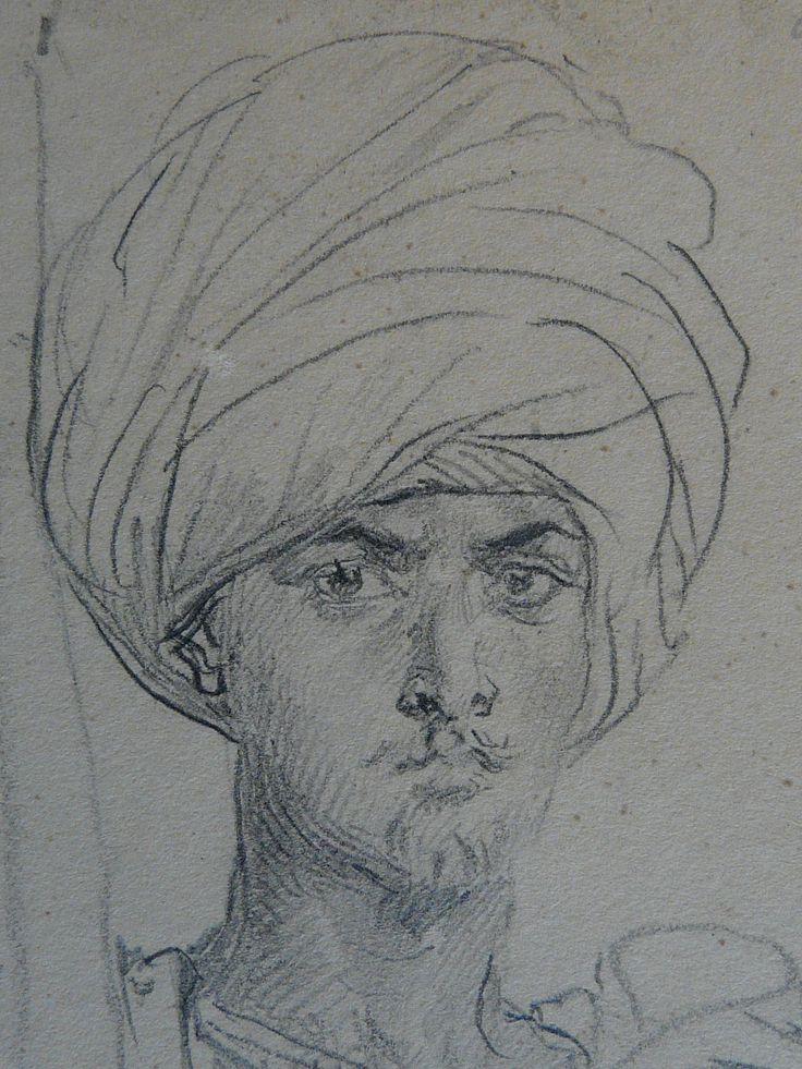 CHASSERIAU Théodore,1846 - Arabe coiffé d'un Turban, debout contre un Arbre - drawing - Détail 22