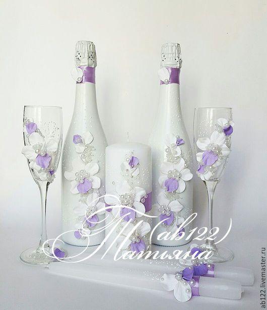 Свадебные аксессуары ручной работы. Ярмарка Мастеров - ручная работа. Купить Свадебный набор с орхидеями. Handmade. Сиреневый, свадебные аксессуары