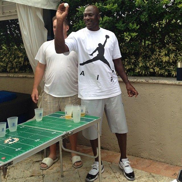 #michaeljordan in a pair of #airjordan #sneakers playing beer pong