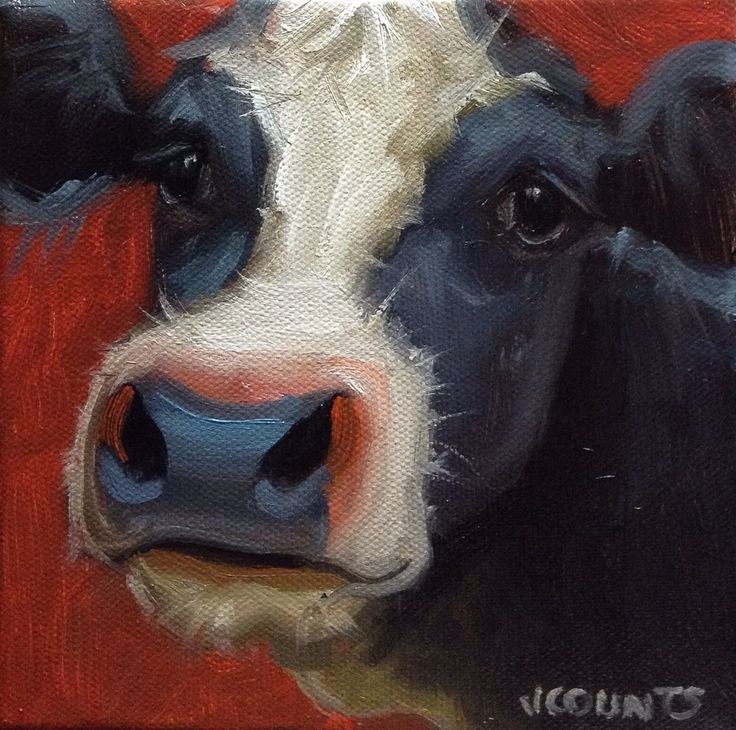 """COW ART SMALL OIL PAINTING HOME FARM KITCHEN DECOR CUTE ANIMALS  """"Sweet Pea"""" Oil on Canvas 6""""x6"""""""