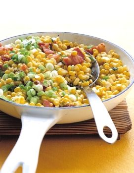This quick and easy dish is sure to please your Easter dinner guest! This bacon, scallion and corn veggie side dish looks so bright and beautiful I can't wait to make it | martha stewart 4 slices bacon, cut into 1-inch strips 4 cups corn kernels Coarse salt and ground black pepper Pinch of red-pepper flakes 2 to 3 scallions, sliced