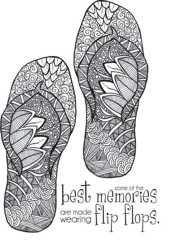 Free Coloring Pages For Adults Flip Flops Beach