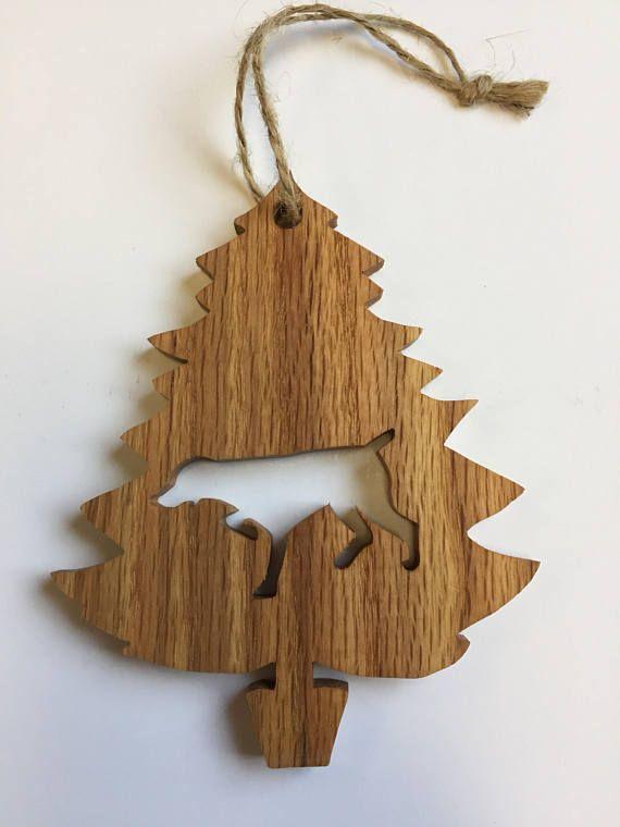 Pointer Dog - Hunting Dog Ornament - Bird Dog - Bird Hunter Gift - Wood Pet Ornament - Handmade Christmas Ornament #PointerDog #IrishSetter #HuntingDog #ChristmasDecoration #OakOrnament #HandmadeOrnament #DogLoverGift #DogChristmasOrn #DogOrnament #BirdDogOrnament