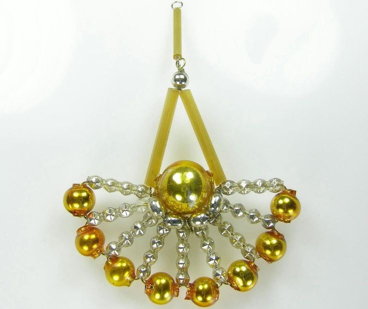 Old Blown Hollow Glass Beads Wired Czech Christmas Decoration Fan Golden 90mm