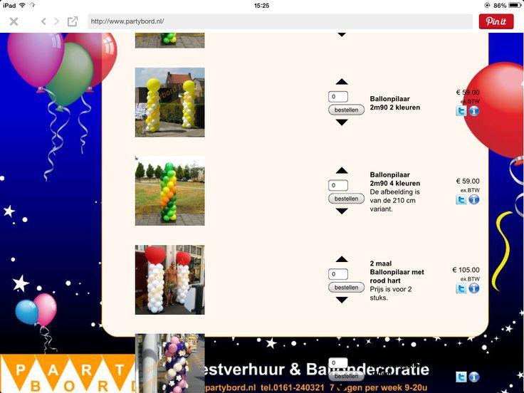 Ballonnen bedrijf in gilze: www.partybord.nl voor bogen en pilaren om tuin / dansvloer in te richten bijvoorbeeld