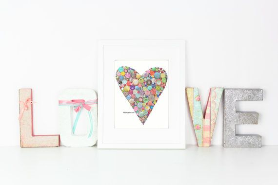 8x10 Sparkly Heart Art Button & Swarovski Rhinestones Button Heart Button Art Valentine's Day Gift Nursery Art Love Heart Art Buttons
