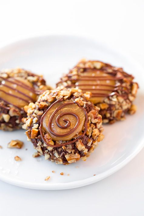 Salted Caramel Turtle Thumbprint Cookies Recipe ~ decadent and delicious