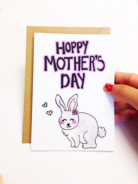 Mother's day card, Funny mother's day card, funny mothers day card, Happy mother's day card for mom, hoppy mother's day card, bunny card by LoveNCreativity
