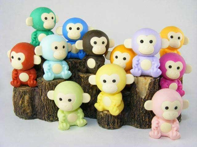 Japanese Erasers - Playful Monkey Erasers