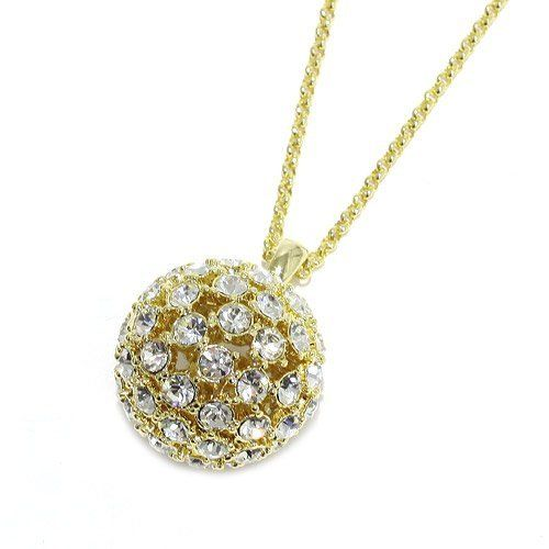 """Rhinestone Cluster Pendant Necklace; 20""""L Chain And 1"""" Pendant; Gold Metal; Clear Rhinestones; Lobster Clasp Closure Eileen's Collection. $24.99"""