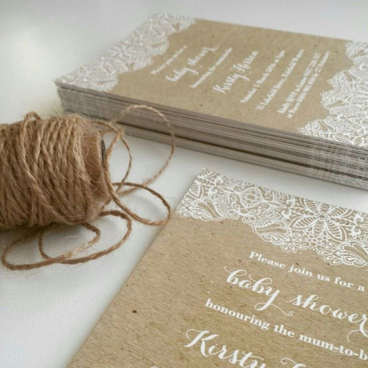 Kraft & Lace Invitations for Kirsty's Baby Shower