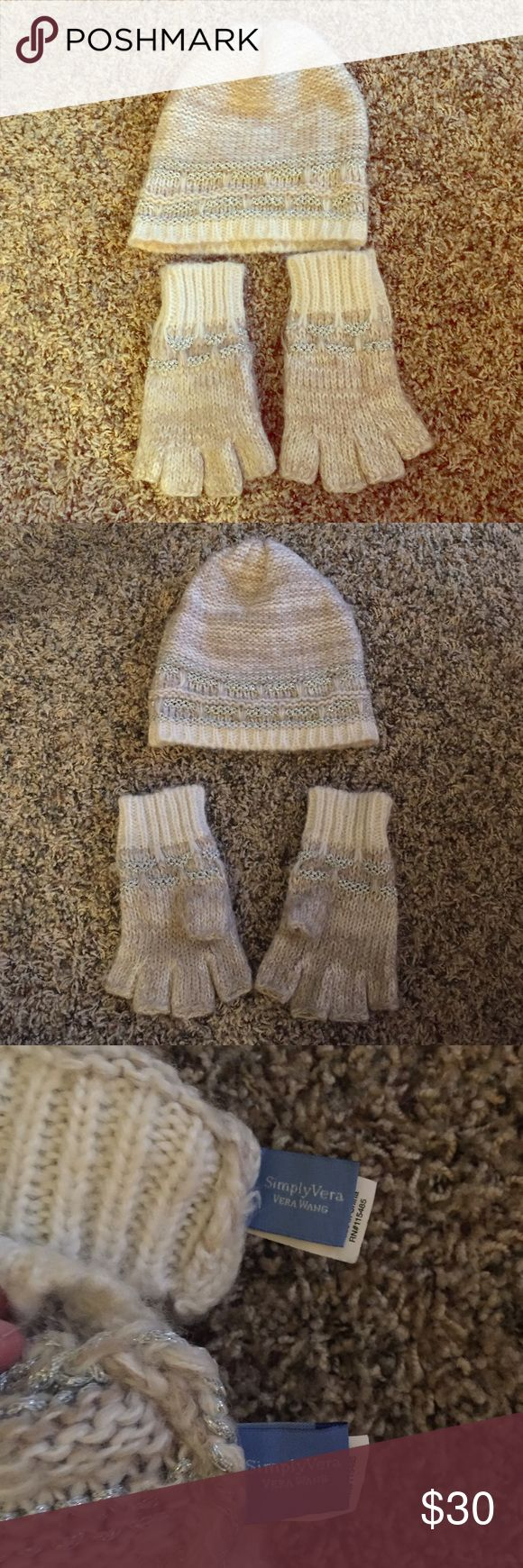 ❄️DAY SALE! Simply Vera Wang Hat & Gloves Simply Vera - Vera Wang Matching Beanie Hat and Gloves. Cream color design with some silver stitching. Gloves are made without finger tips. Some minor pilling on gloves Simply Vera Vera Wang Accessories Gloves & Mittens