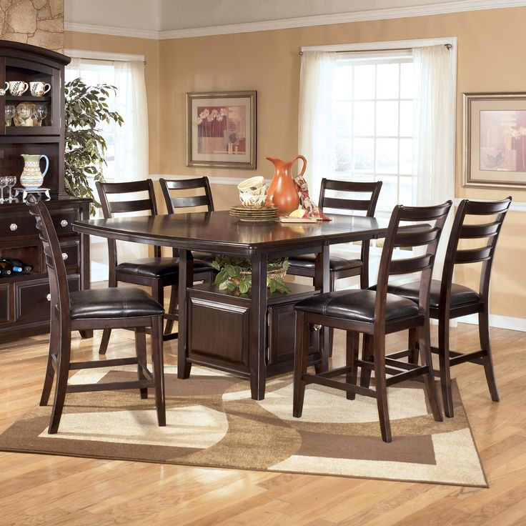 Signature Design By Ashley Ridgley Square Dark Brown Dining Room Table