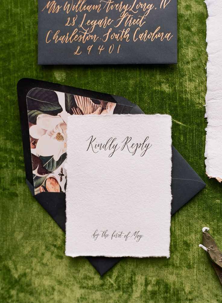 YONDER DESIGN // This handmade paper was letterpress printed and used as a reply card for a feature in Southern Weddings.  TAGS // Torn Edge, Velvet, Floral, Letterpress, Reply Card, Handmade Paper, Invitation Suite, Gold, Green.