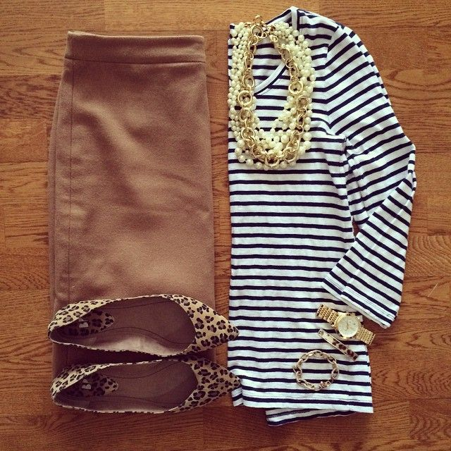 Camel Pencil Skirt, Striped Shirt, Pearl Necklace, Leopard Flats