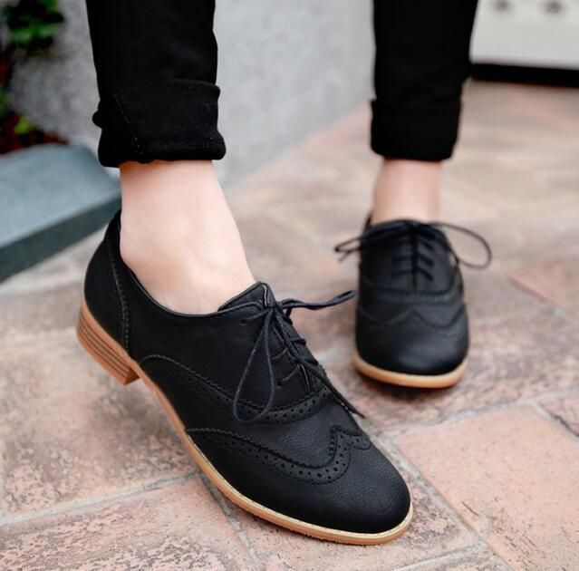 Brogue Womens Lace Up Casual Retro Formal Oxford Flat Fashion Chunky Shoes Hcz